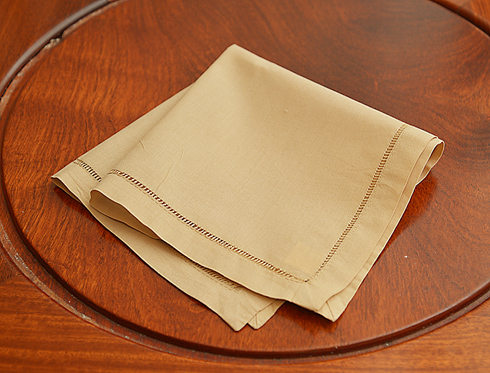 "Soybean colored handkerchief. Hemstitch. 13""square."