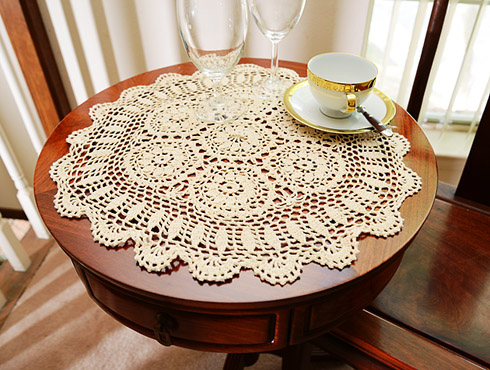 "Crochet Round Placemat. 18"" round. Wheat color. 1 Each."