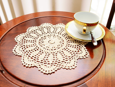 "Crochet Round Doilies.12""Round. Wheat color. ( 4 pieces )"