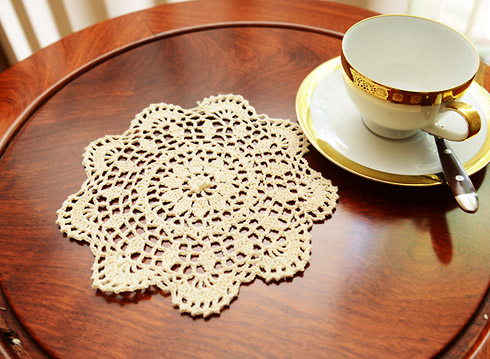 "Crochet Round Doilies 8"" Round. Wheat color. 6 pieces pack"