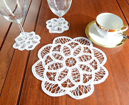 Belgium Battenburg Lace doilies. Round 10x10.White (6 pcs. set)