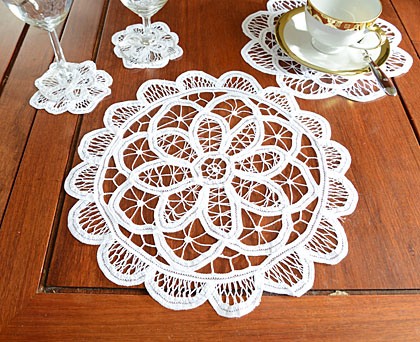 Belgium Battenburg Lace Doilies.Round.12x12. White (4 pcs. set)