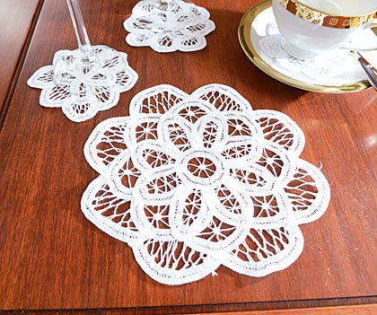 Belgium Battenburg Lace doilies.Round 8x8in. White.(6 pcs. set)