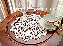 "Crochet Lace. Sun Flower. Round 14"". White (4 pcs. set)"