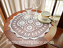 "Crochet Lace. Sun Flower. Round. 16"". White. (2 pcs. set)"