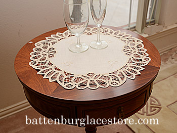 "Battenburg Round Placemat. 16"" round. Mother of Pearl. 2 pieces."