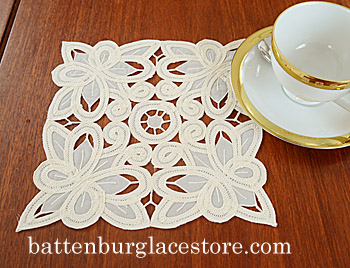 Doilies Organza Square.8 in.Christina Butteflies.(6 pcs set)