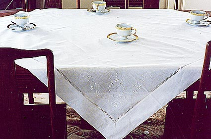"Hemstitched Square tablecloth. 45"". White color"