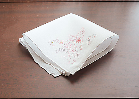 Embroidered Cotton handkerchief # 1102 Pink Rose