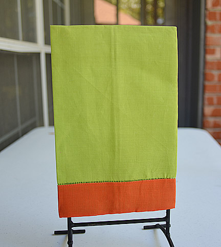 Guest Towel Hot Green with Bright Orange border
