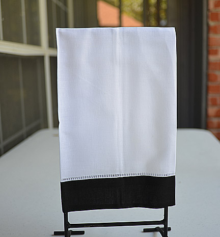 Guest Towel. White with Black color border