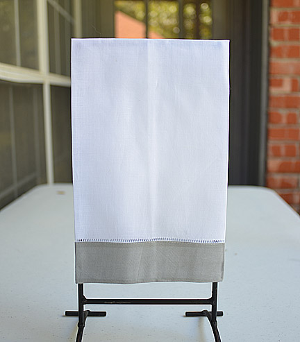 Guest towel. White with Silver Gray color border