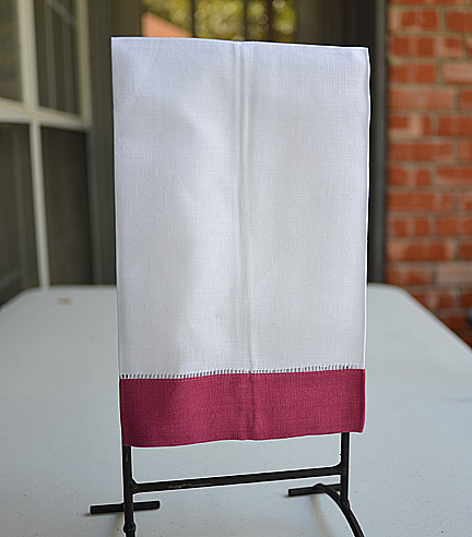 Guest Towel. White with Wine color border