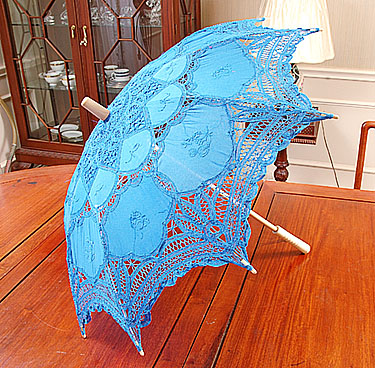 Battenburg Lace Parasol. Aqua color. 18 inches