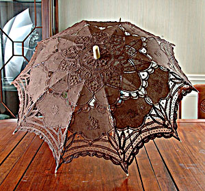 Battenburg Lace Parasol. Brown color. 18in. Cotton
