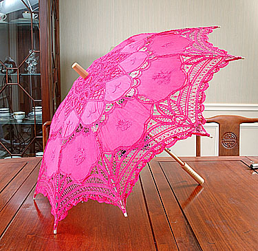 Battenburg Lace Parasol. Hot Pink color. 18 inches.