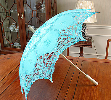 Battenburg Lace Parasol. Light Blue color. Cotton. 18in.