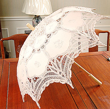 Battenburg Lace Parasol. Taupe color. 18 inch. Cotton.