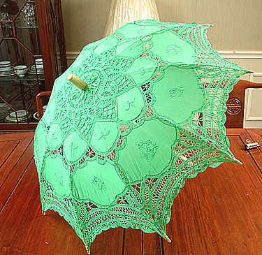 Battenburg Lace Parasol. Christmas Green color. 18 In.