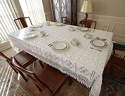 Crochet Vintage Tablecloth.Grany Square with Tassels 72x126 W