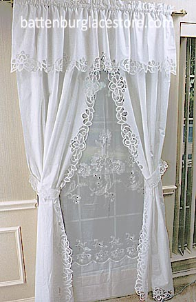 Battenburg Lace. PA Style Windows Curtain Set. White color