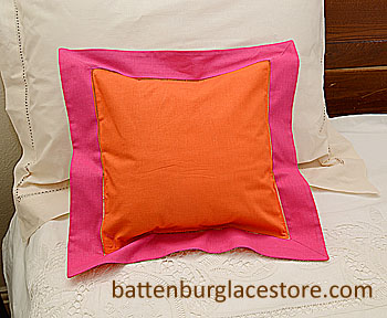 "Pillow Sham. FLAME ORANGE with RASPBERRY SORBET BORDER 12"" SQ."