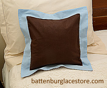 "Pillow Sham. BROWN with BABY BLUE color border.12"" Square"