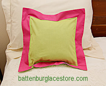"Pillow Sham. MACAW GREEN with RASPBERRY SORBET border.12"" SQ."