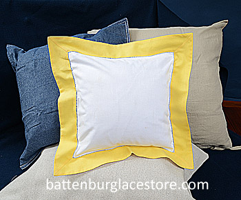 Square Pillow Sham. White with ASPEN GOLD color border 12 in