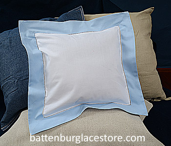 Square Pillow Sham. White with Baby Blue color border. 12 SQ
