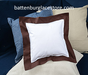 Square Pillow Sham. White with French Roast color border 12 SQ.