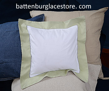 Square Pillow Sham. White with NILE green color border.12 SQ.