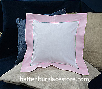 "Square Pillow Sham. White with ""PINK LADY"" pink color border 12"""