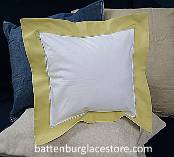 Square Pillow Sham. White with SHADOW GREEN color border.12 SQ.