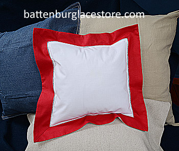 Square Pillow Sham. White with TRUE RED color border. 12 SQ.