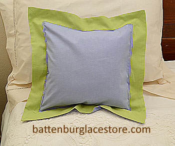 "Pillow Sham. SWEET LAVENDER with MACAW GREEN color border.12"" SQ"
