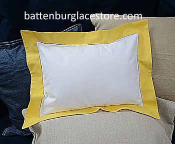 "Baby Pillow Sham. White with Aspen Gold color.12""x16"" pillow"