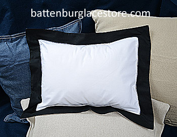 "Baby pillow sham. White with Black color border. 12""x16""pillow"