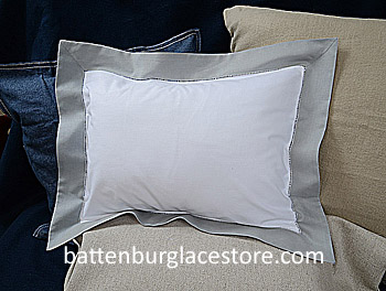 "Baby Pillow Sham.White with ""High Rise"" Gray border.12x16 pillow"