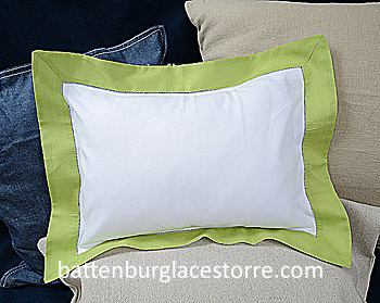 "Baby Pillow Sham.White with Macaw Green border.12x16""pillow"