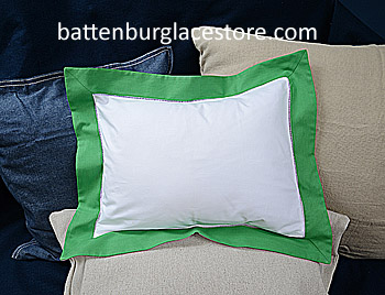 "Baby Pillow Sham.White with Mint Green color border 12x16""pillow"