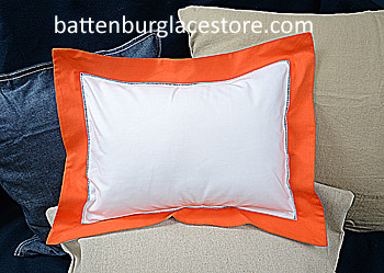 "Baby Pillow Sham.White with Vermillion Orange color.12x16""pillow"