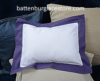 "Baby pillow sham.White with Imperial Purple color.12x16""pillow."