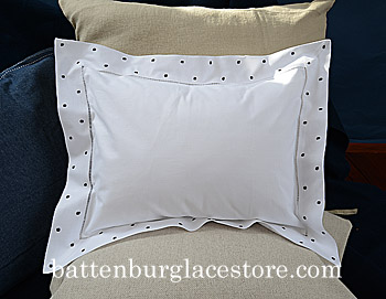 "Baby Pillow Sham.12X16 Swiss Polka ""Black"" color dot."