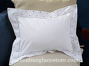 Pillow Sham 12x16 Swiss Polka. Brown color dot. 12x16 pillow