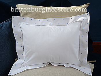 Pillow Sham 12x16.Swiss Polka dot. French Blue color dot.