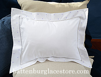 Pillow Sham. Swiss Polka dot. Sweet Lavender color dot.12x16