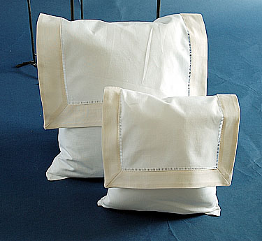 Envelope Pillow.White with Ivory. Small size 8 inches.