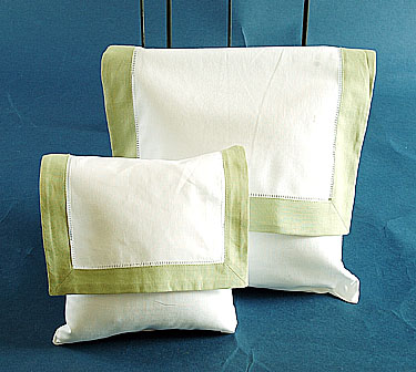 Envelope Pillow.White with Lime Green.Small size 8 inches