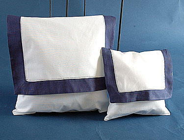 Envelope pillow. White with Navy. Small size. 8 inches
